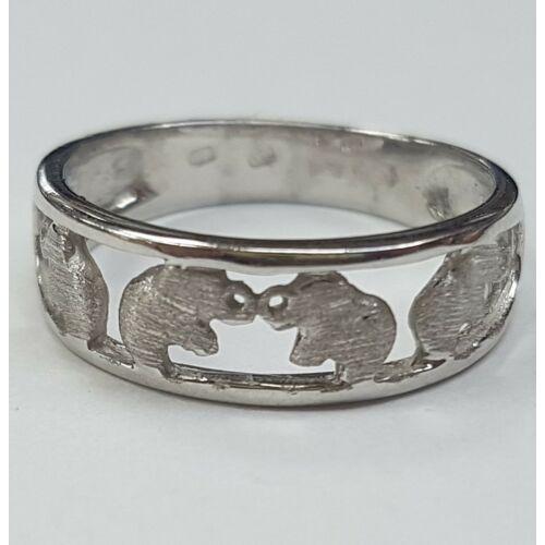 Fehér arany elefántos gyűrű