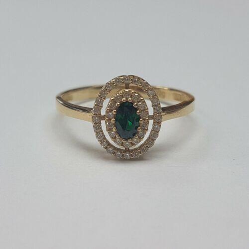 Arany, zöld köves, eljegyzési gyűrű