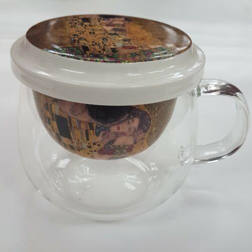 Klimt bögre, teaszűrővel