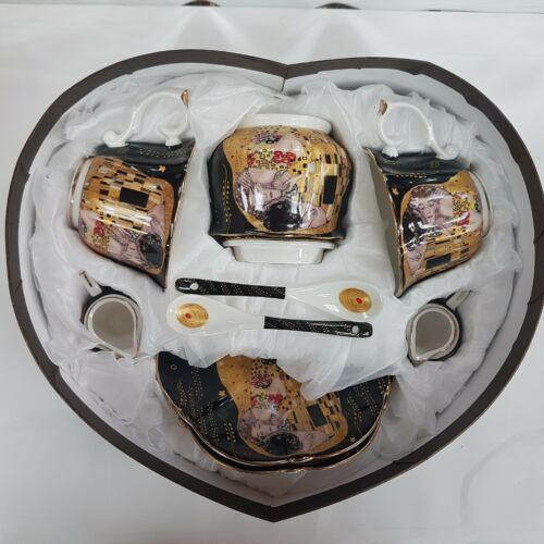 Klimt, kétszemélyes teáskészlet, cukortartóval, kiöntővel